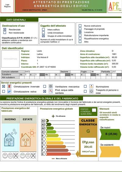 Certificazione Energetica - APE - Attestato Prestazione Energetica