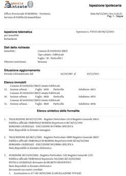 visura ipotecaria - elenco sintetico formalità conservatoria - visura ipocatastale online